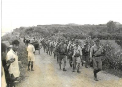 Japanese or Chinese troops marching