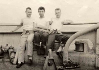 John-Waters-Bob-Lynch-Jack-Petersen-On-board-HMS-Shaw-in-mid-pacific-ocean-Jan-1944
