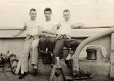 John Waters-Bob Lynch-Jack Petersen On board HMS Shaw in mid pacific ocean Jan 1944
